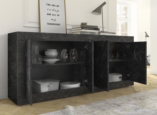 Urbino Collection Four Door Sideboard - Matt Black Marble Finish  image 2