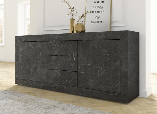 Urbino Collection Two Door Three Drawer Sideboard- Matt Black Marble Finish