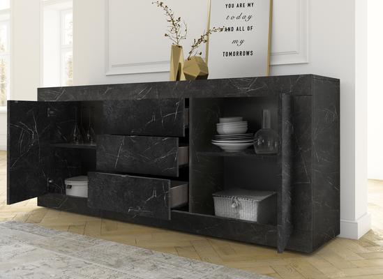 Urbino Collection Two Door Three Drawer Sideboard- Matt Black Marble Finish image 2
