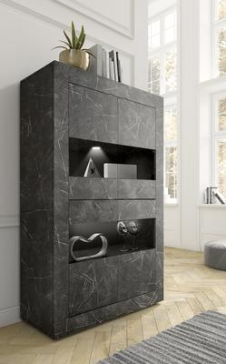 Urbino Collection Four Door Vitrine- Matt Black Marble Finish