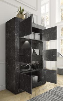 Urbino Collection Four Door Vitrine- Matt Black Marble Finish image 2