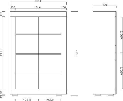Urbino Collection Four Door Vitrine- Matt Black Marble Finish image 3