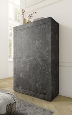 Urbino Collection Four Door High Sideboard- Matt Black Marble Finish
