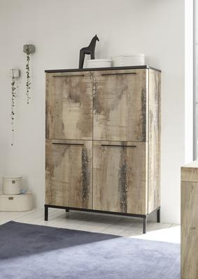 Roma  High Sideboard - Natural with Burnt Black Finish
