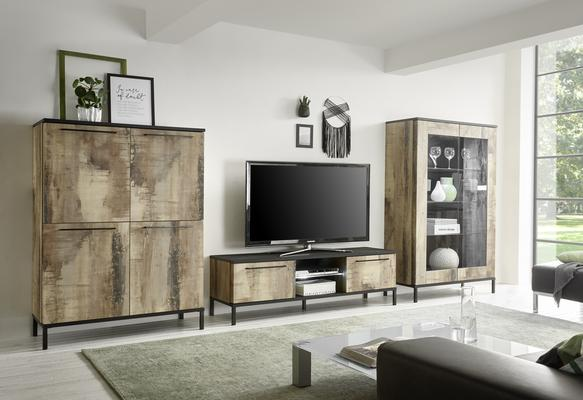 Roma  High Sideboard - Natural with Burnt Black Finish image 3