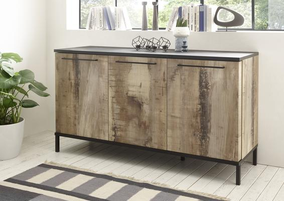 Roma Three Door Sideboard - Natural with Burnt Black Finish