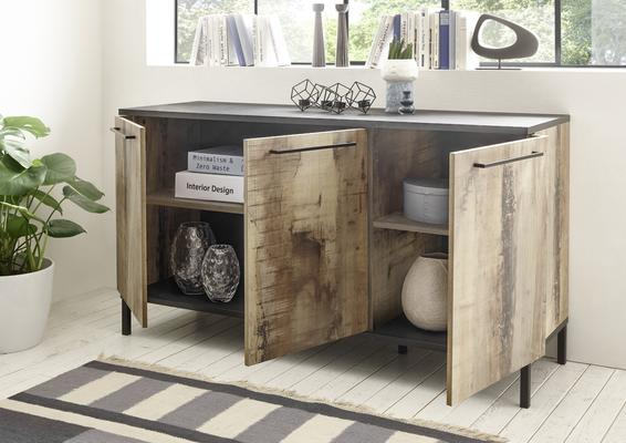 Roma Three Door Sideboard - Natural with Burnt Black Finish image 2