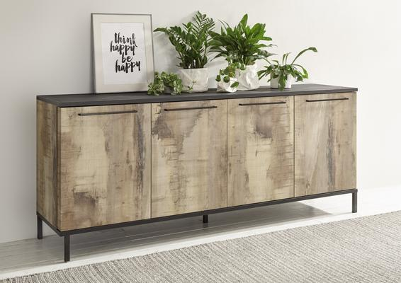 Roma Four Door Sideboard - Natural with Burnt Black Finish