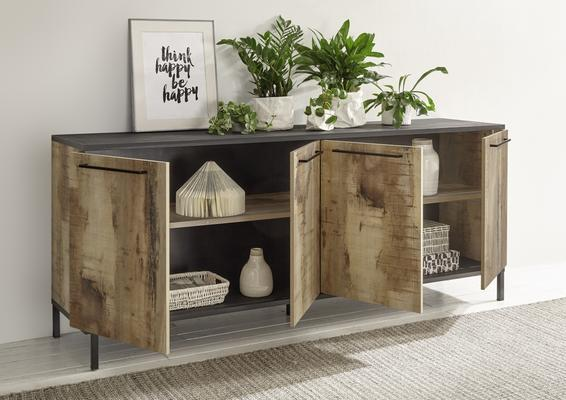 Roma Four Door Sideboard - Natural with Burnt Black Finish image 2