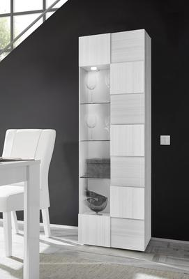 Treviso Single Door Display Cabinet with LED Spotlight - Silver Grey Finish