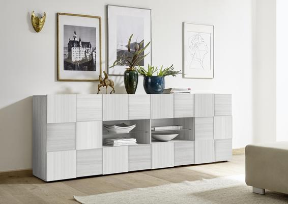 Treviso Two Door Four Drawer Sideboard- Silver Grey Finish