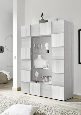 Treviso Two Door Display Cabinet with LED Spotlight - Silver Grey Finish
