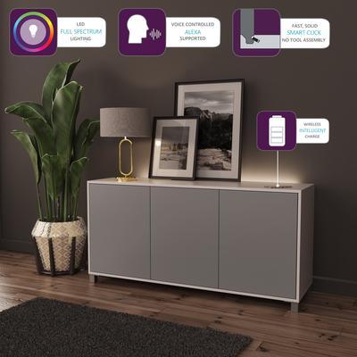 Frank Olsen LED Smart Click Sideboard - White and Grey