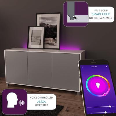 Frank Olsen LED Smart Click Sideboard - White and Grey  image 2