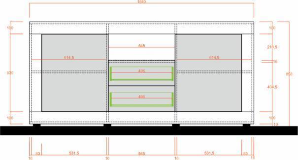 Como Two Door/Two Drawer Sideboard- Light Oak Finish image 2