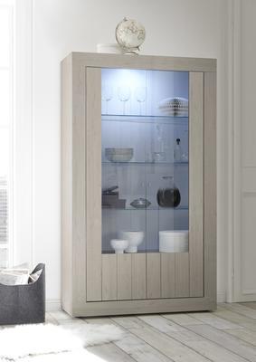 Como Two Door Display Vitrine Inc. LED Spotlight - Light Oak Finish