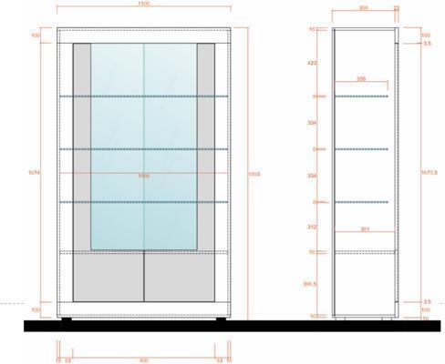 Como Two Door Display Vitrine Inc. LED Spotlight - Light Oak Finish image 2