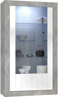 Como Two Door Display Vitrine with LED Spotlight - Grey and Gloss White Finish