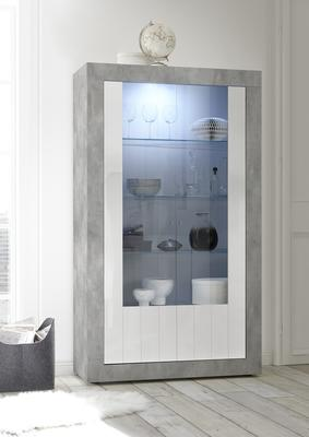 Como Two Door Display Vitrine with LED Spotlight - Grey and Gloss White Finish image 2