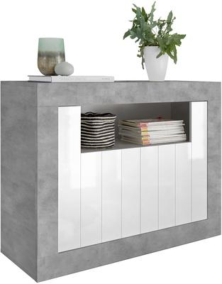 Como Two Door Sideboard - Grey and Gloss White Finish