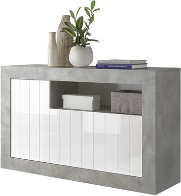 Como Three Door Sideboard - Grey and Gloss White Finish