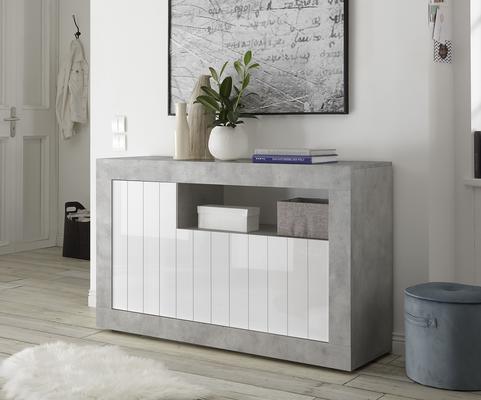 Como Three Door Sideboard - Grey and Gloss White Finish image 2