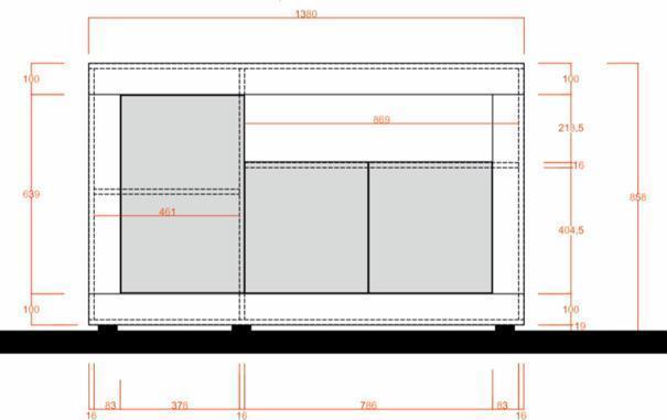 Como Three Door Sideboard - Grey and Gloss White Finish image 3