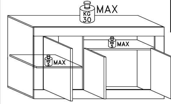 Como Three Door Sideboard - Grey and Gloss White Finish image 5