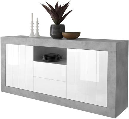 Como Two Door Two Drawer Sideboard - Grey and White Gloss Finish