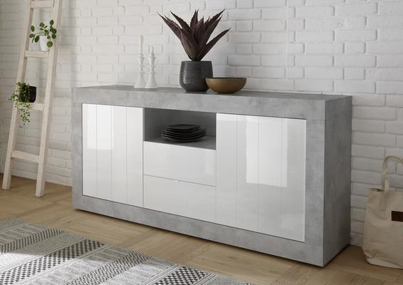 Como Two Door Two Drawer Sideboard - Grey and White Gloss Finish image 2