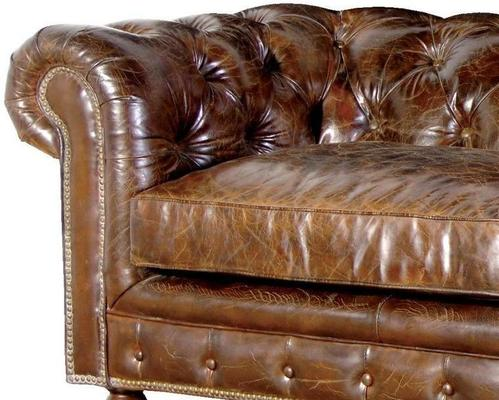 Vintage Three Seater Brown Leather Chesterfield Sofa image 2