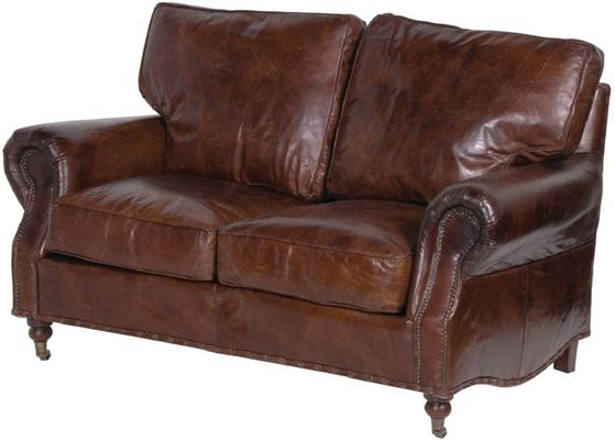 Crumpled Brown Leather Two Seater Sofa