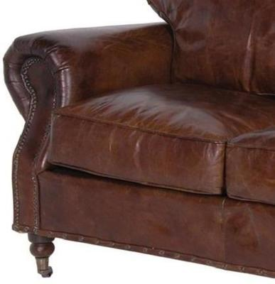 Crumpled Brown Leather Two Seater Sofa image 2