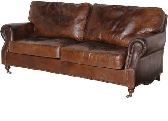 Crumpled Brown Leather Three Seater Sofa