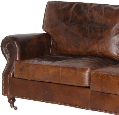 Crumpled Brown Leather Three Seater Sofa image 2