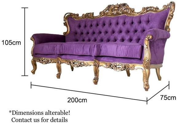 Louis Purple Velvet Sofa with Gold Leaf image 5