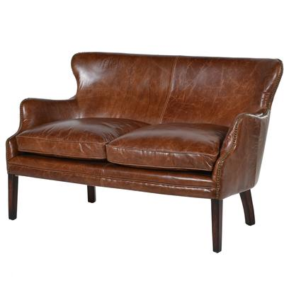 Havana Brown Leather Two Seater