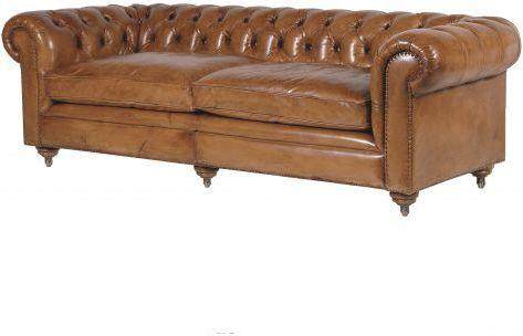 Italian Tan Leather Three Seater Buttoned Chesterfield
