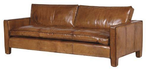 Italian Tan Leather Three Seater Sofa