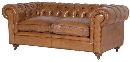 Italian Tan Leather Two Seat Button Chesterfield