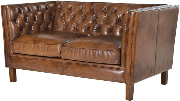 Italian Tan Leather Two Seat Button Studded Settee