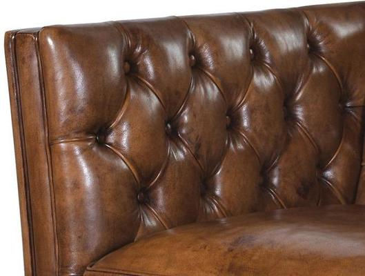 Italian Tan Leather Two Seat Button Studded Settee image 2