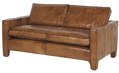 Italian Tan Leather Two Seater Sofa