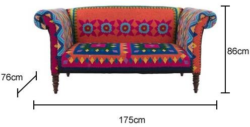 Mexican Embroidered Sofa Multicolour