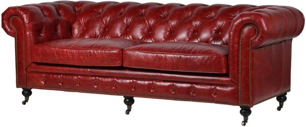 Chesterfield Leather Sofa Dark Red Buttoned