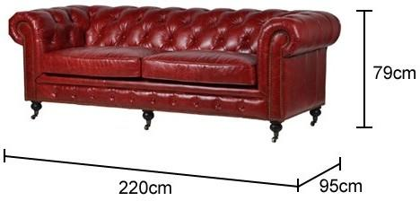 Chesterfield Leather Sofa Dark Red Buttoned image 2