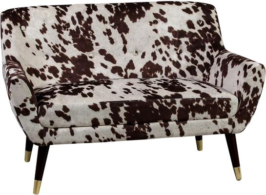 Faux Cowhide Sofa Brown and White Dalmatian Patterm