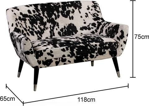 Faux Cowhide Sofa Brown and White Dalmatian Patterm image 2