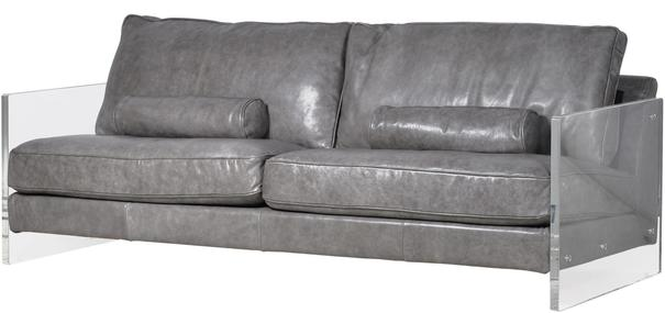 Grey Leather Sofa With Acrylic Sides