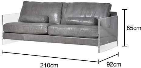 Grey Leather Sofa With Acrylic Sides image 2